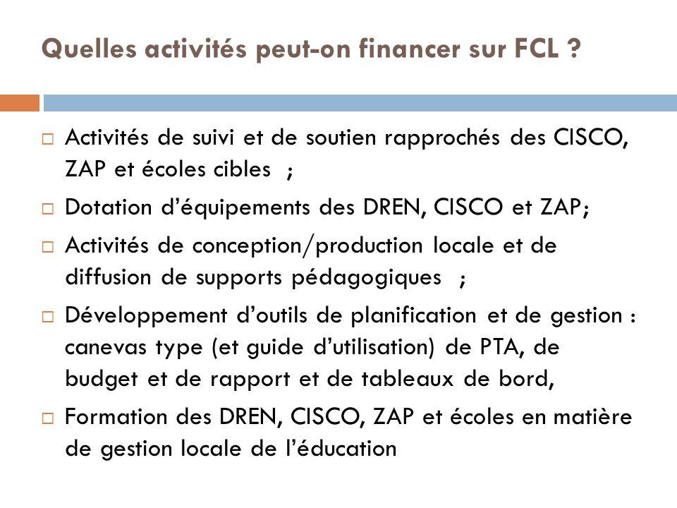 Quelles activités peut-on financer sur FCL .
