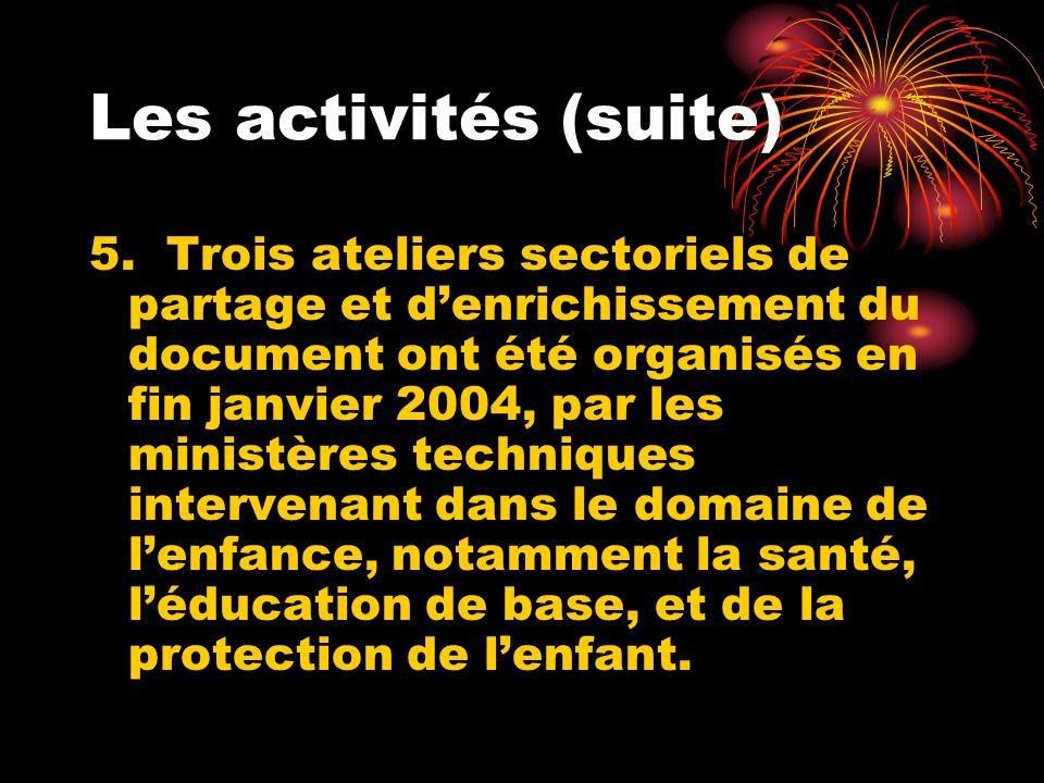 Les activités (suite) 5. Trois ateliers sectoriels de partage et denrichissement du document ont été organisés en fin janvier 2004, par les ministères