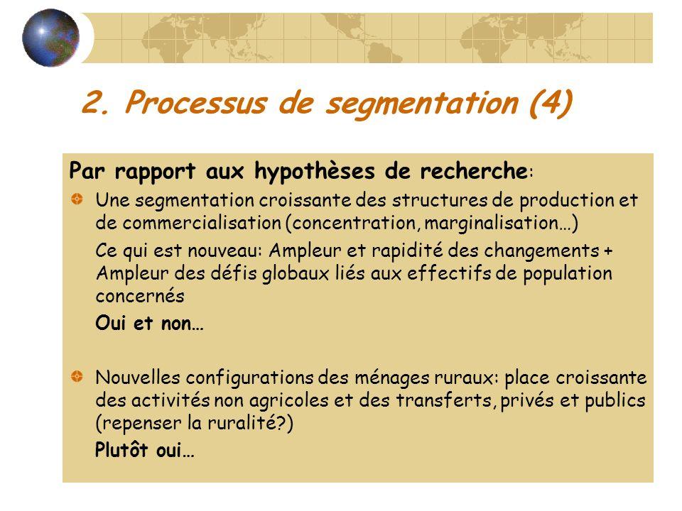 2. Processus de segmentation (4) Par rapport aux hypothèses de recherche : Une segmentation croissante des structures de production et de commercialis