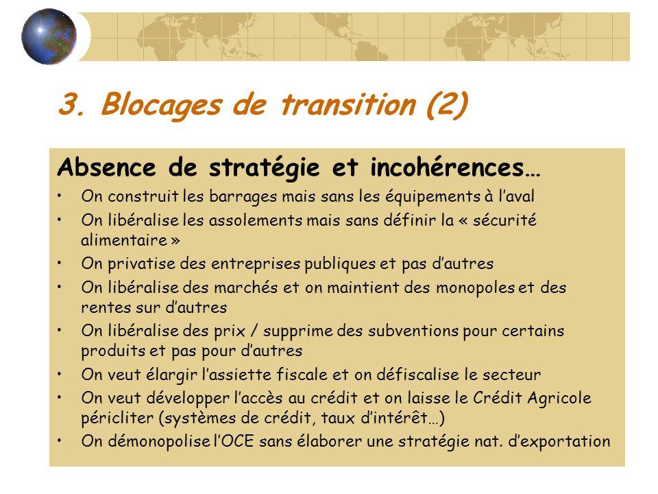 3. Blocages de transition (2) Absence de stratégie et incohérences… On construit les barrages mais sans les équipements à laval On libéralise les asso