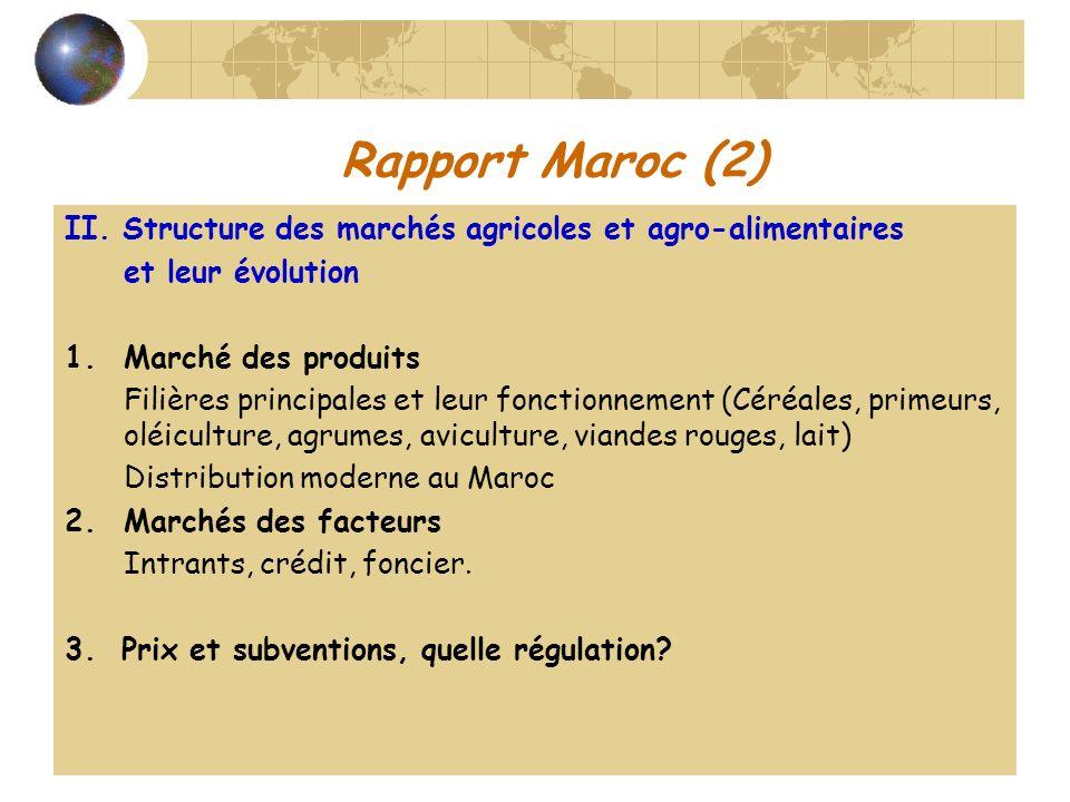 Rapport Maroc (2) II. Structure des marchés agricoles et agro-alimentaires et leur évolution 1.Marché des produits Filières principales et leur foncti
