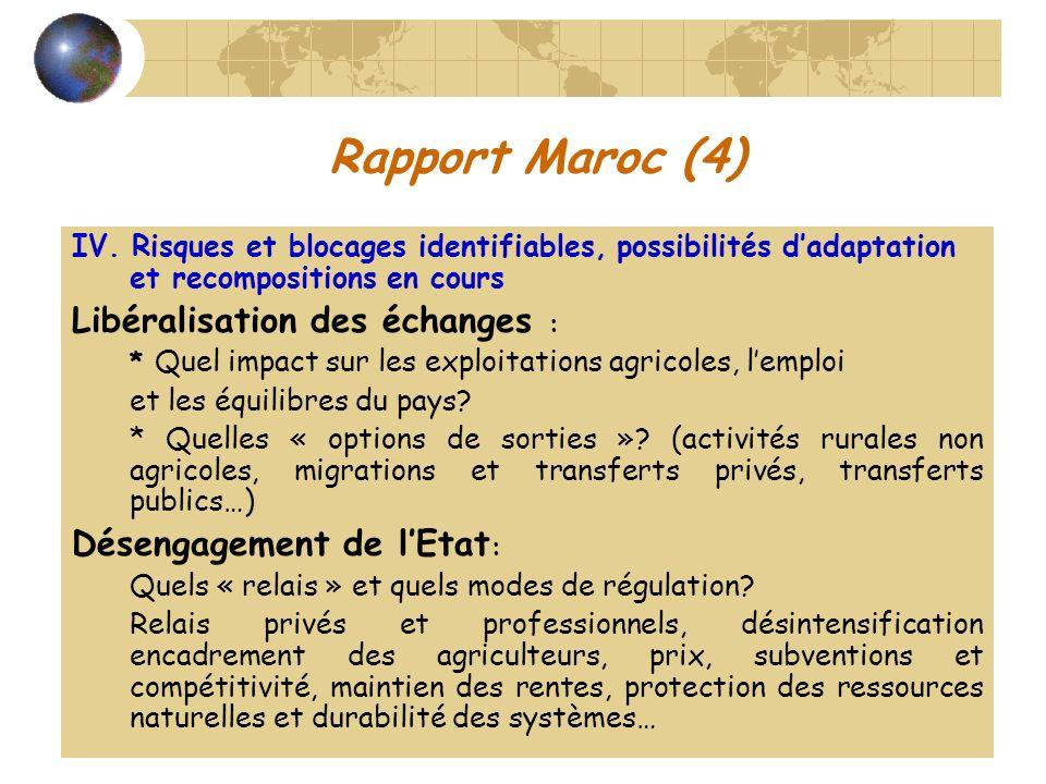 Rapport Maroc (4) IV. Risques et blocages identifiables, possibilités dadaptation et recompositions en cours Libéralisation des échanges : * Quel impa