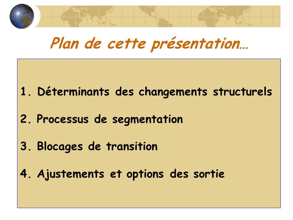 Plan de cette présentation… 1. Déterminants des changements structurels 2. Processus de segmentation 3. Blocages de transition 4. Ajustements et optio