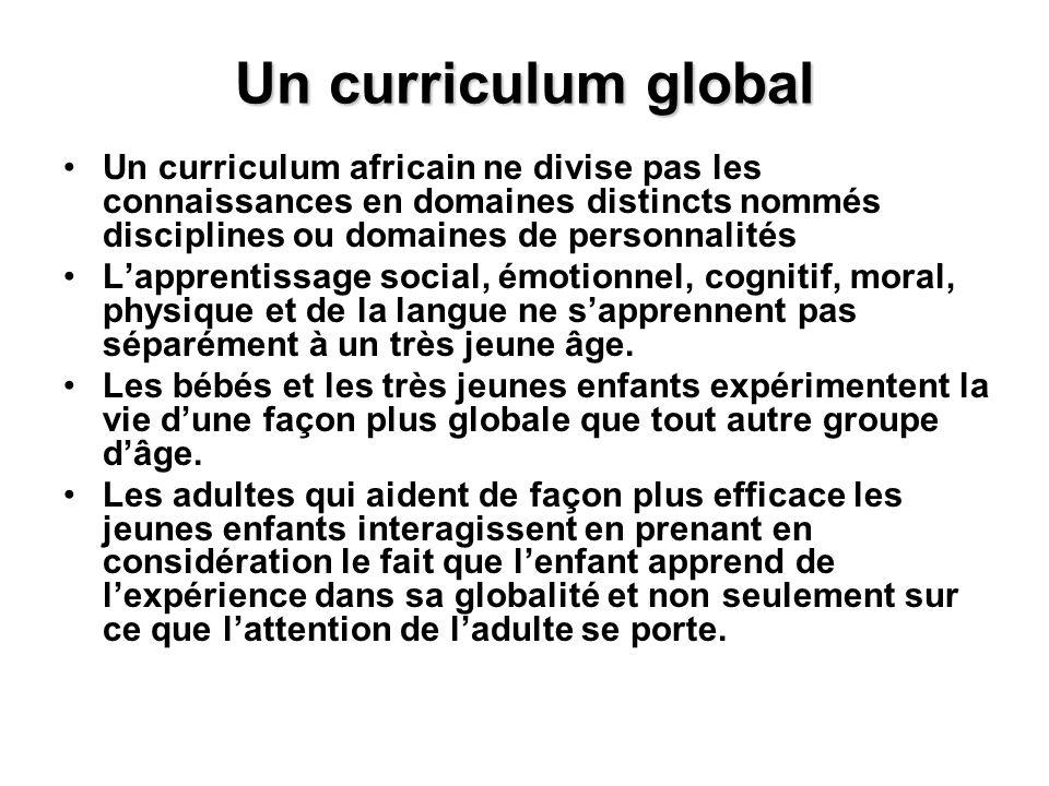 Un curriculum global Un curriculum africain ne divise pas les connaissances en domaines distincts nommés disciplines ou domaines de personnalités Lapp
