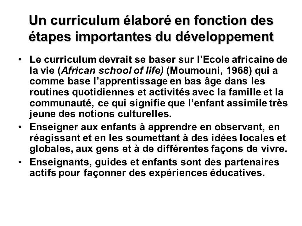 Un curriculum élaboré en fonction des étapes importantes du développement Le curriculum devrait se baser sur lEcole africaine de la vie (African schoo