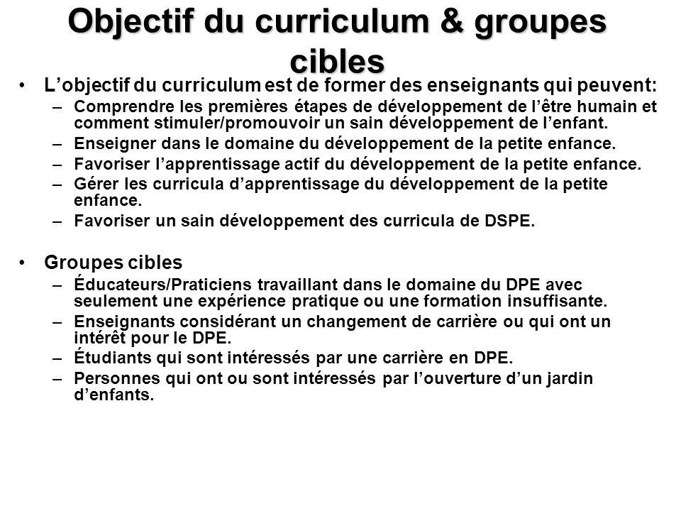 Objectif du curriculum & groupes cibles Lobjectif du curriculum est de former des enseignants qui peuvent: –Comprendre les premières étapes de dévelop
