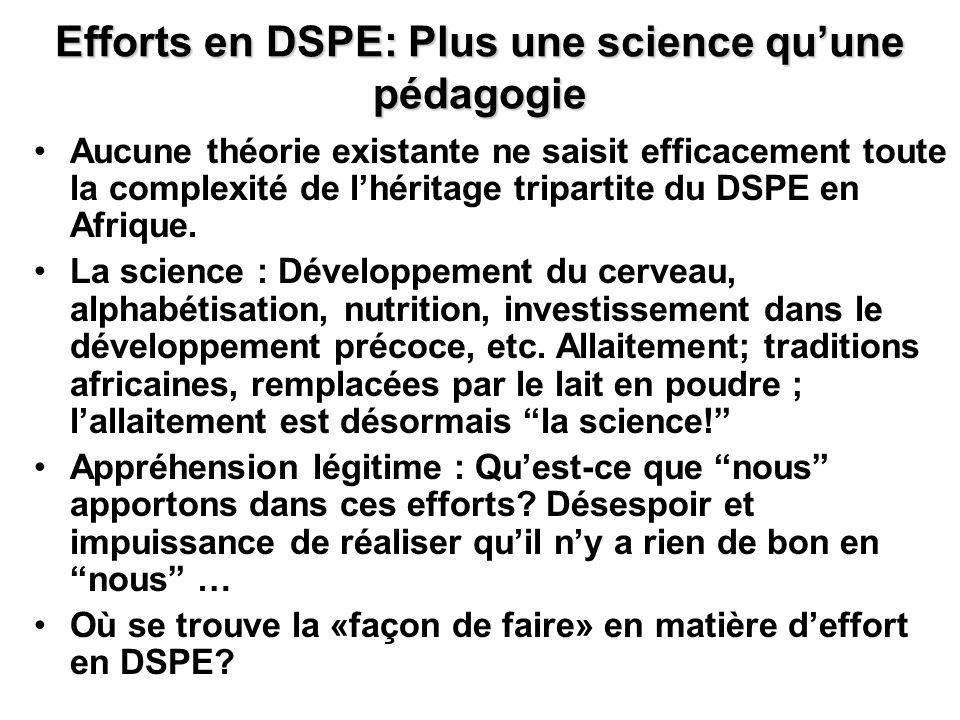 Efforts en DSPE: Plus une science quune pédagogie Aucune théorie existante ne saisit efficacement toute la complexité de lhéritage tripartite du DSPE