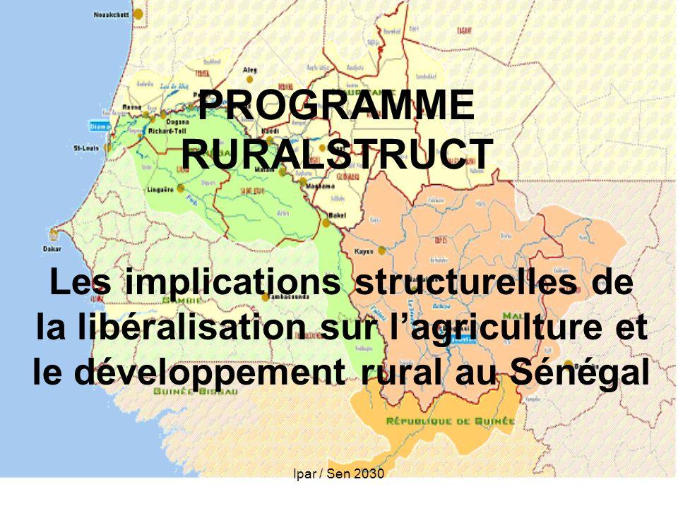 Ipar / Sen 2030 PROGRAMME RURALSTRUCT Les implications structurelles de la libéralisation sur lagriculture et le développement rural au Sénégal