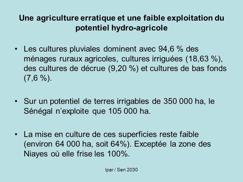 Ipar / Sen 2030 Une agriculture erratique et une faible exploitation du potentiel hydro-agricole Les cultures pluviales dominent avec 94,6 % des ménag