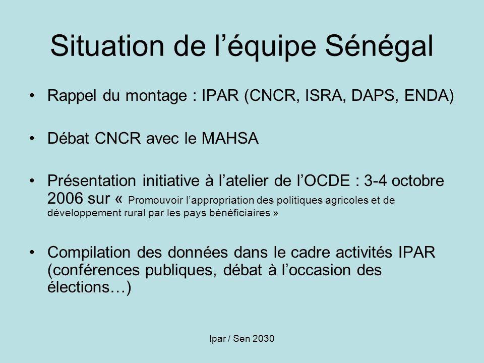 Ipar / Sen 2030 Situation de léquipe Sénégal Rappel du montage : IPAR (CNCR, ISRA, DAPS, ENDA) Débat CNCR avec le MAHSA Présentation initiative à late