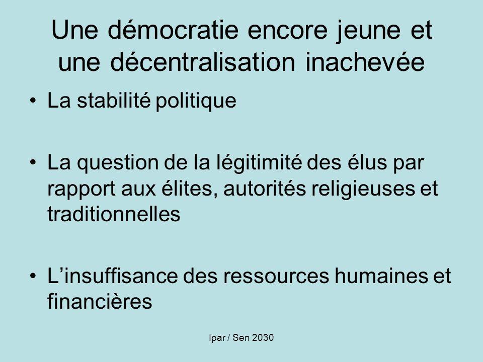Ipar / Sen 2030 Une démocratie encore jeune et une décentralisation inachevée La stabilité politique La question de la légitimité des élus par rapport