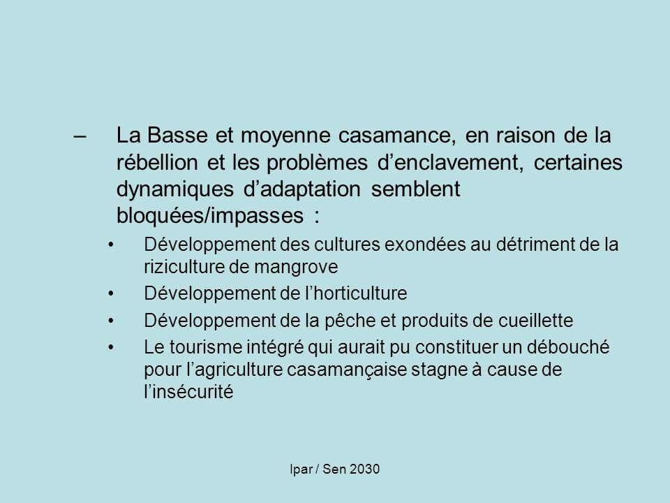 Ipar / Sen 2030 –La Basse et moyenne casamance, en raison de la rébellion et les problèmes denclavement, certaines dynamiques dadaptation semblent blo