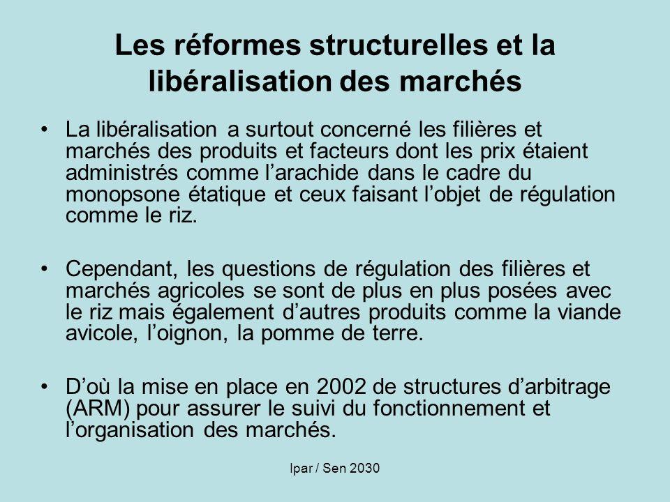 Ipar / Sen 2030 Les réformes structurelles et la libéralisation des marchés La libéralisation a surtout concerné les filières et marchés des produits