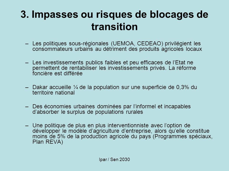 Ipar / Sen 2030 3. Impasses ou risques de blocages de transition –Les politiques sous-régionales (UEMOA, CEDEAO) privilégient les consommateurs urbain