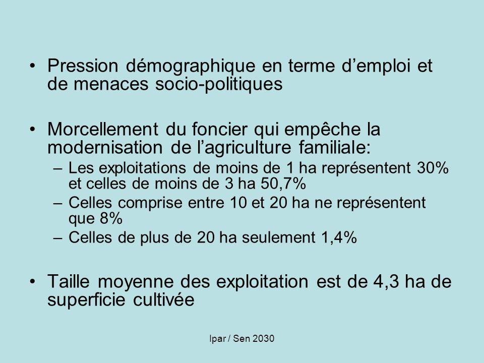 Ipar / Sen 2030 Pression démographique en terme demploi et de menaces socio-politiques Morcellement du foncier qui empêche la modernisation de lagricu