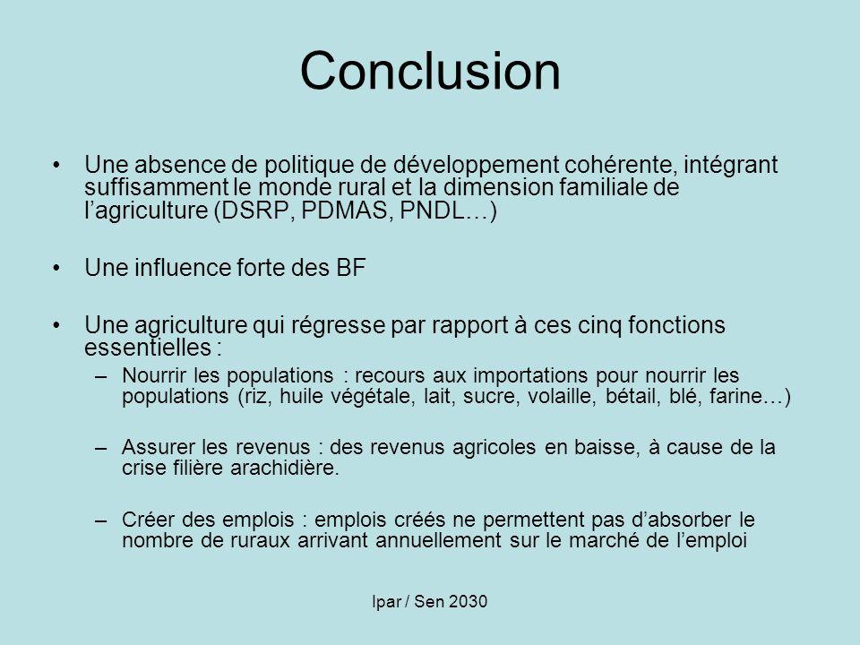 Ipar / Sen 2030 Conclusion Une absence de politique de développement cohérente, intégrant suffisamment le monde rural et la dimension familiale de lag