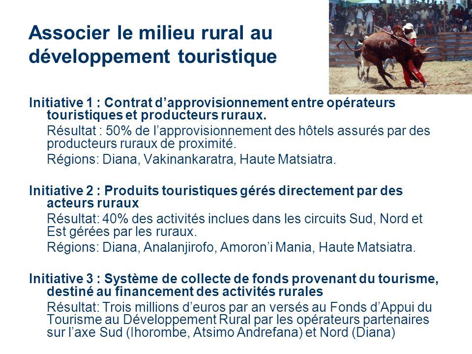 Associer le milieu rural au développement touristique Initiative 1 : Contrat dapprovisionnement entre opérateurs touristiques et producteurs ruraux.