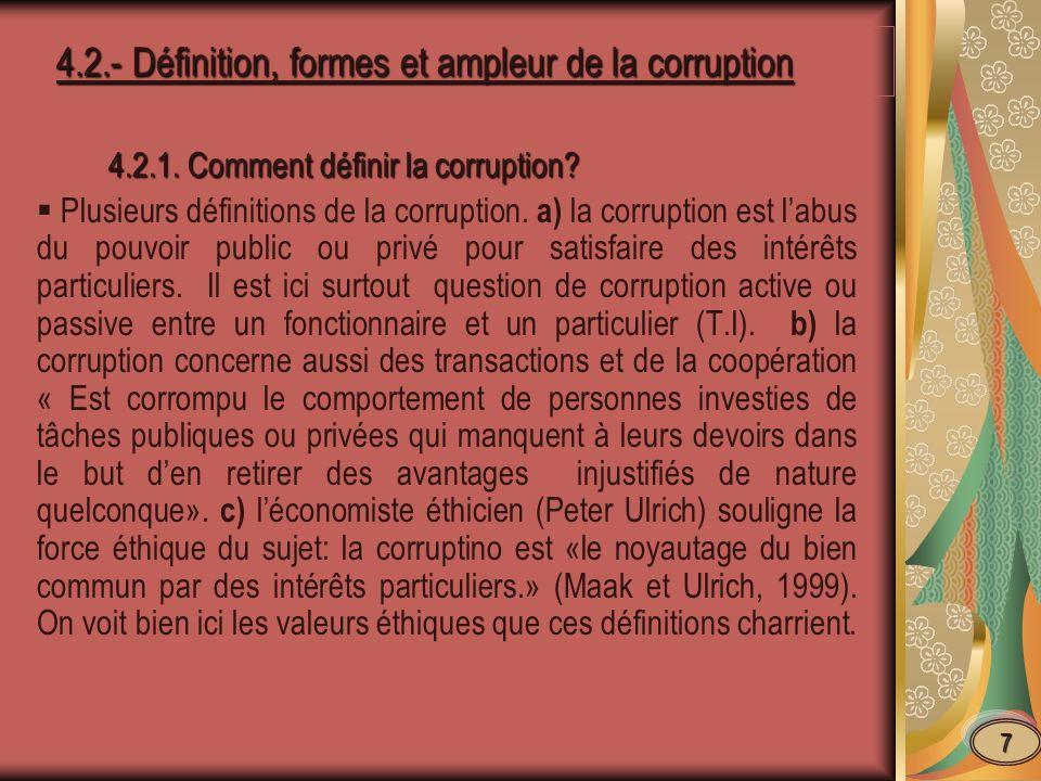 4.2.2.Caractéristiques de la corruption 4.2.2.