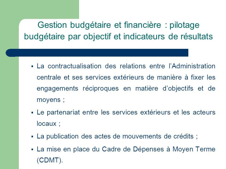 Gestion budgétaire et financière : pilotage budgétaire par objectif et indicateurs de résultats La contractualisation des relations entre lAdministrat