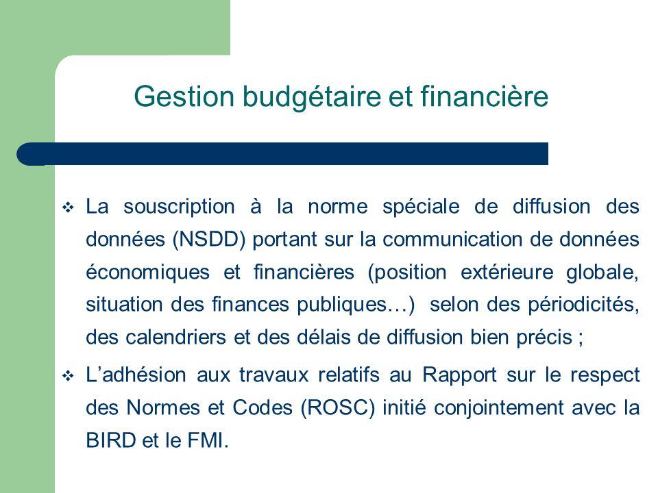 Gestion budgétaire et financière La souscription à la norme spéciale de diffusion des données (NSDD) portant sur la communication de données économiqu
