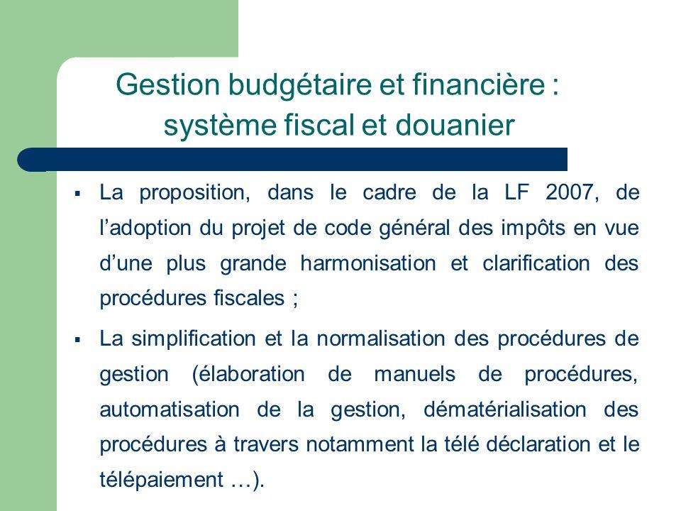 Gestion budgétaire et financière : système fiscal et douanier La proposition, dans le cadre de la LF 2007, de ladoption du projet de code général des