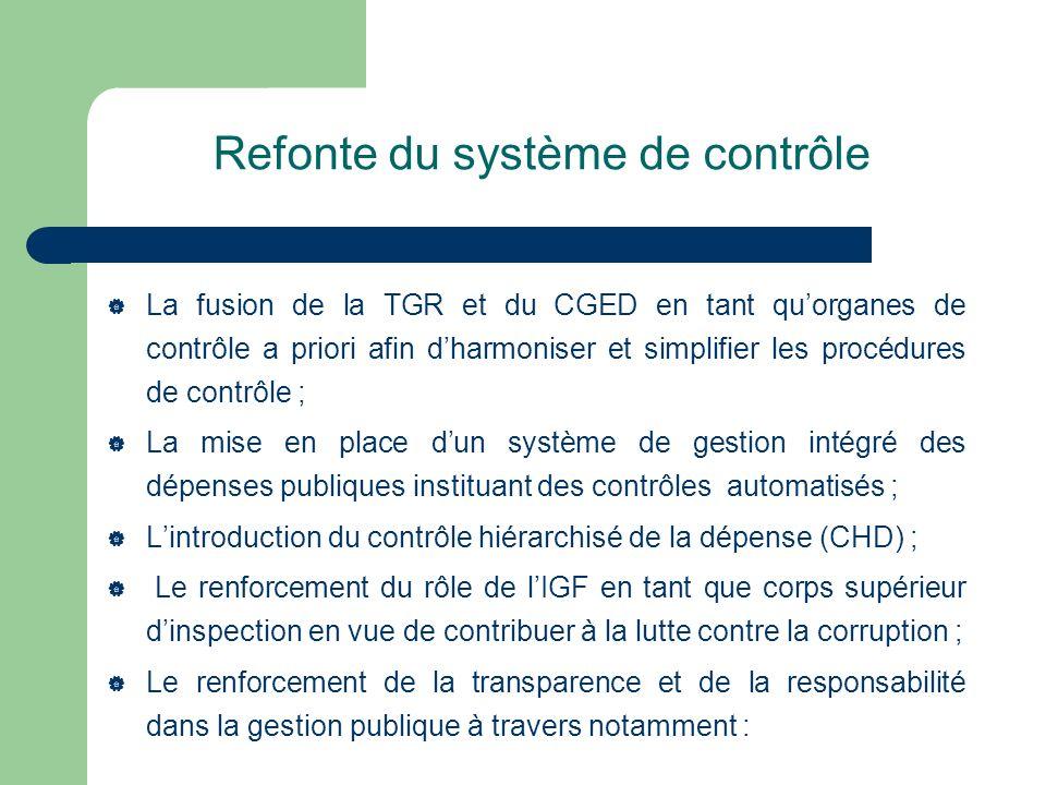 Refonte du système de contrôle La fusion de la TGR et du CGED en tant quorganes de contrôle a priori afin dharmoniser et simplifier les procédures de
