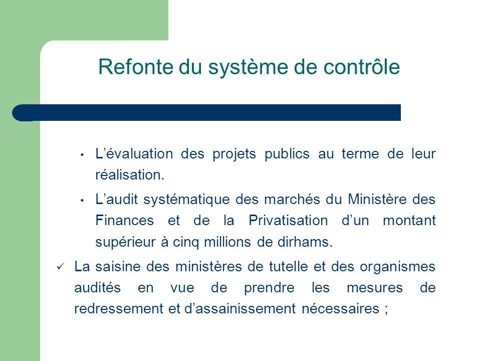 Refonte du système de contrôle Lévaluation des projets publics au terme de leur réalisation. Laudit systématique des marchés du Ministère des Finances