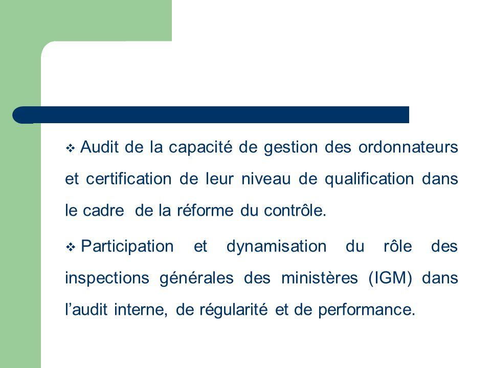 Audit de la capacité de gestion des ordonnateurs et certification de leur niveau de qualification dans le cadre de la réforme du contrôle. Participati