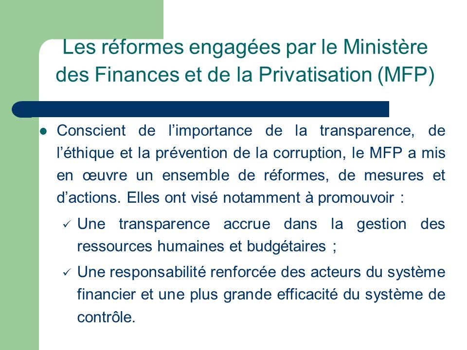 Les réformes engagées par le Ministère des Finances et de la Privatisation (MFP) Conscient de limportance de la transparence, de léthique et la préven