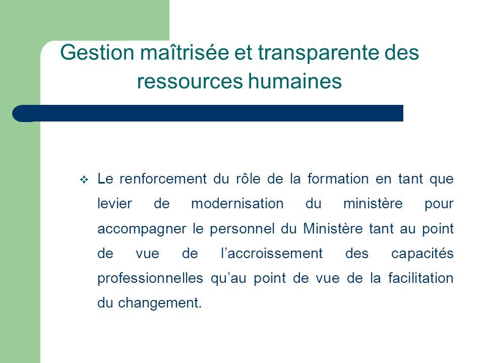 Gestion maîtrisée et transparente des ressources humaines Le recours au système dappel à candidatures pour la nomination aux postes de responsabilité au MFP sur la base de la reconnaissance du mérite.