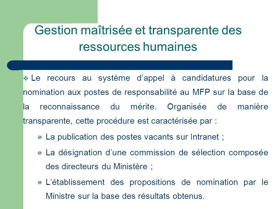 Gestion maîtrisée et transparente des ressources humaines Le recours au système dappel à candidatures pour la nomination aux postes de responsabilité