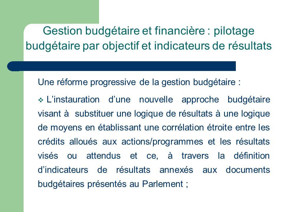 Gestion budgétaire et financière : pilotage budgétaire par objectif et indicateurs de résultats Une réforme progressive de la gestion budgétaire : Lin