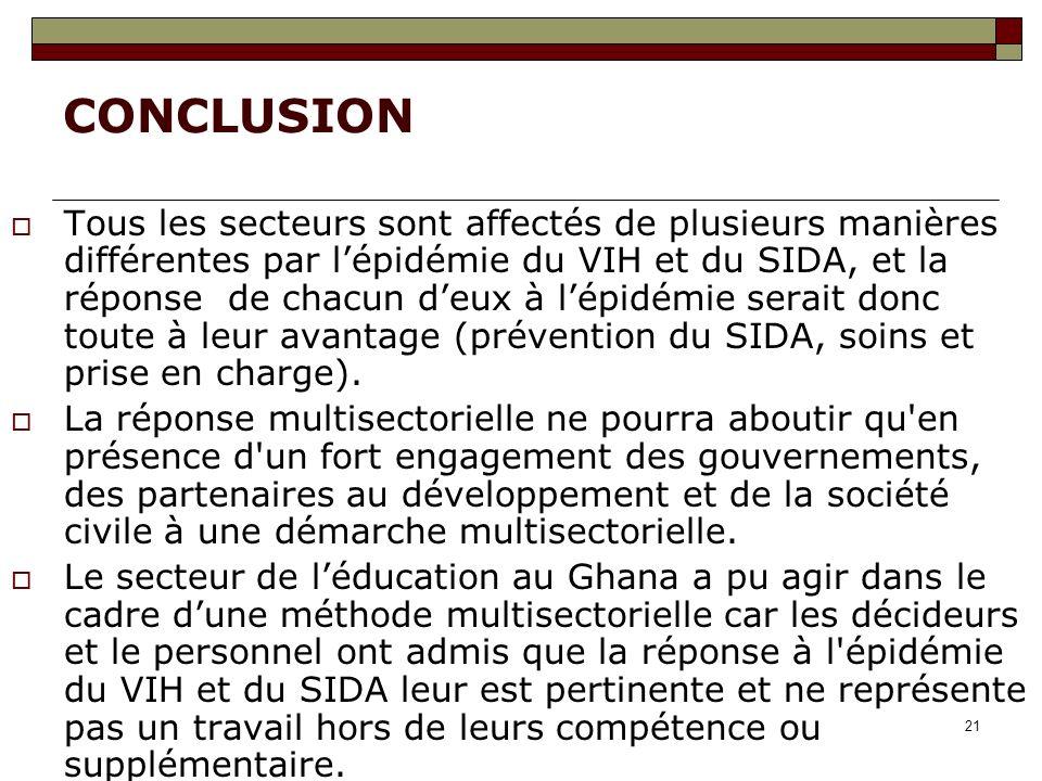 21 CONCLUSION Tous les secteurs sont affectés de plusieurs manières différentes par lépidémie du VIH et du SIDA, et la réponse de chacun deux à lépidémie serait donc toute à leur avantage (prévention du SIDA, soins et prise en charge).