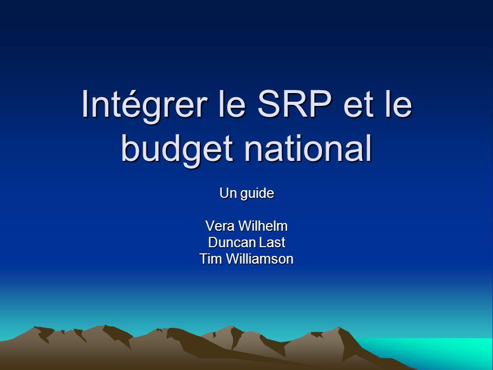 Alignement de la SRP et les rapports budgétaires avec les processus de prise de décisions Les problèmes: Les rapports sur la SRP (APR) et le processus des rapports budgétaires ne sont pas alignés (labsence dincitations à utiliser les informations) La présentation de SRP nest pas alignée avec le budget, labsence dun lien entre les dépenses, les résultats, et les impacts du SRP Les solutions: Commencer par un exercice de cartographie du processus de rapports Préparer le rapport sur la SRP avant le démarrage du cycle budgétaire annuel Les objectifs de performance de la SRP pourraient être liés aux secteurs et aux institutions sectorielles Le rapport annuel sur la SRP pourrait se fonder sur le suivi du budget (les dépenses) tant que se referant aux activités, les résultats et les impacts
