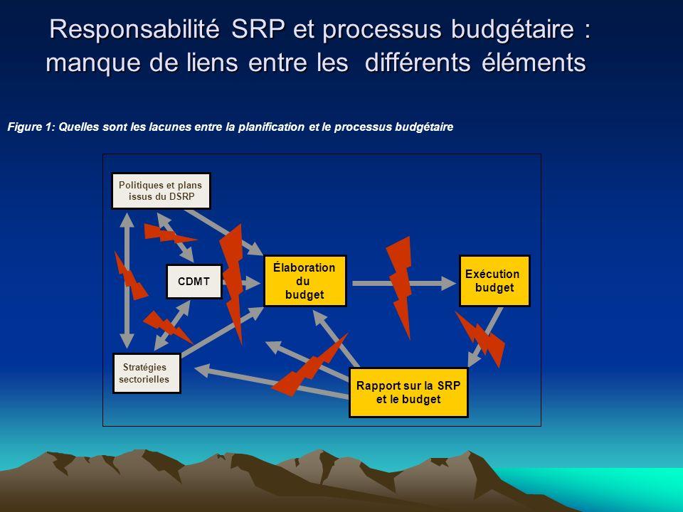 Responsabilité SRP et processus budgétaire : manque de liens entre les différents éléments Responsabilité SRP et processus budgétaire : manque de liens entre les différents éléments CDMT Stratégies sectorielles Politiques et plans issus du DSRP Élaboration du budget Exécution budget Rapport sur la SRP et le budget Figure 1: Quelles sont les lacunes entre la planification et le processus budgétaire