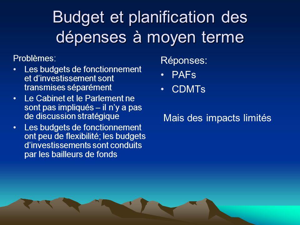 Budget et planification des dépenses à moyen terme Problèmes: Les budgets de fonctionnement et dinvestissement sont transmises séparément Le Cabinet et le Parlement ne sont pas impliqués – il ny a pas de discussion stratégique Les budgets de fonctionnement ont peu de flexibilité; les budgets dinvestissements sont conduits par les bailleurs de fonds Réponses: PAFs CDMTs Mais des impacts limités