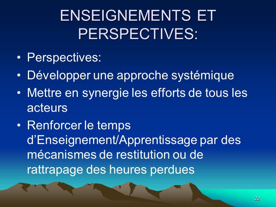 22 ENSEIGNEMENTS ET PERSPECTIVES: Perspectives: Développer une approche systémique Mettre en synergie les efforts de tous les acteurs Renforcer le tem