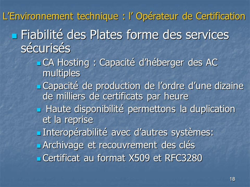 18 LEnvironnement technique : l Opérateur de Certification Fiabilité des Plates forme des services sécurisés Fiabilité des Plates forme des services s