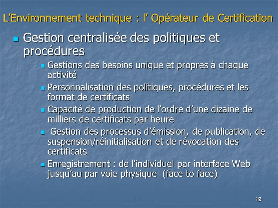 19 LEnvironnement technique : l Opérateur de Certification Gestion centralisée des politiques et procédures Gestion centralisée des politiques et proc