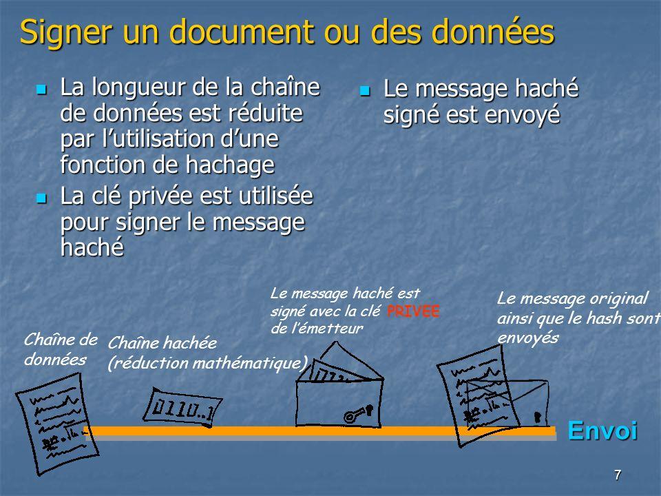7 Signer un document ou des données Chaîne de données Envoi Chaîne hachée (réduction mathématique) Le message haché est signé avec la clé PRIVEE de lé
