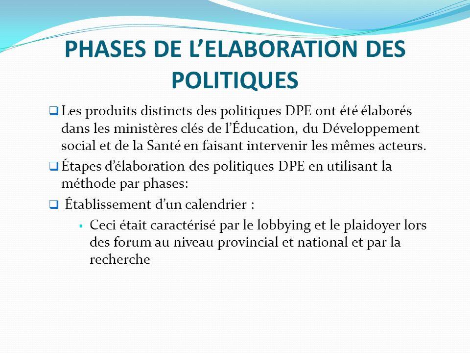 PHASES DE LELABORATION DES POLITIQUES Les produits distincts des politiques DPE ont été élaborés dans les ministères clés de lÉducation, du Développement social et de la Santé en faisant intervenir les mêmes acteurs.