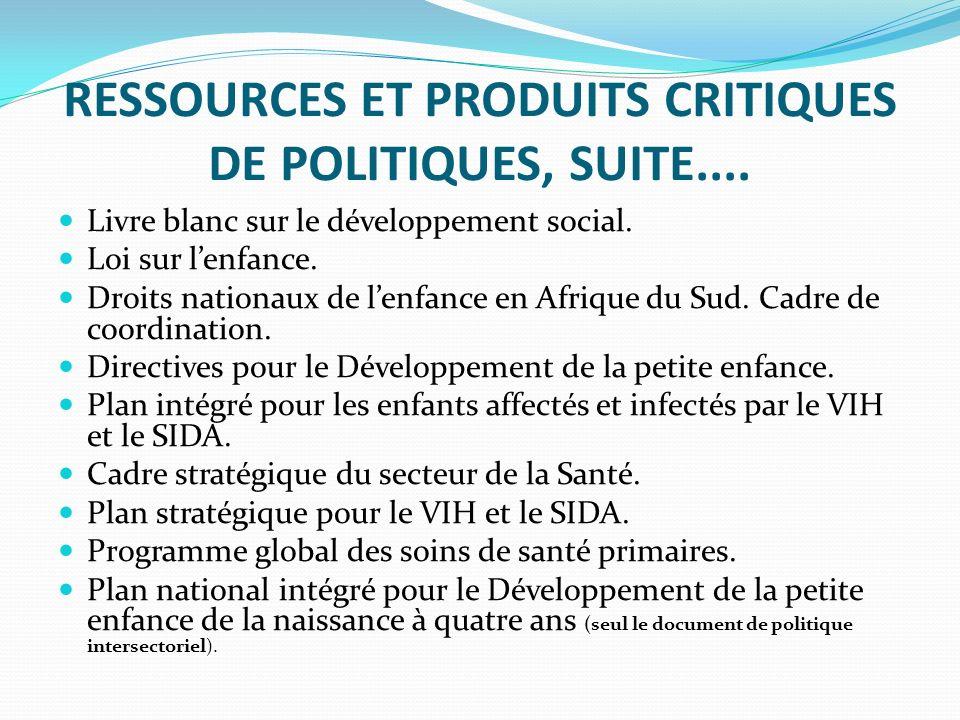 RESSOURCES ET PRODUITS CRITIQUES DE POLITIQUES, SUITE....