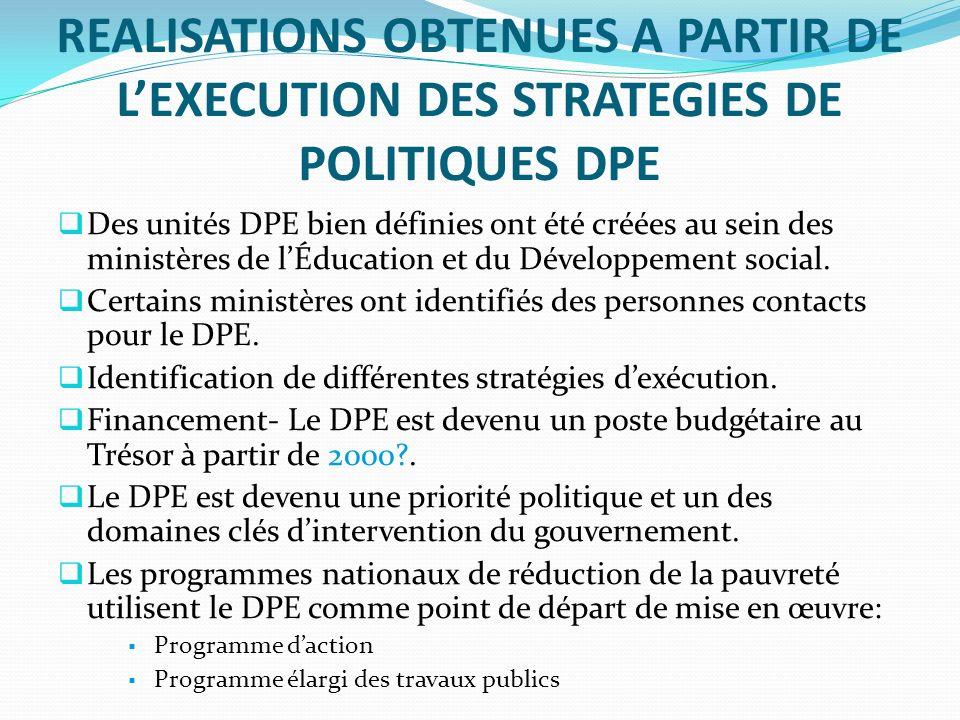 REALISATIONS OBTENUES A PARTIR DE LEXECUTION DES STRATEGIES DE POLITIQUES DPE Des unités DPE bien définies ont été créées au sein des ministères de lÉducation et du Développement social.