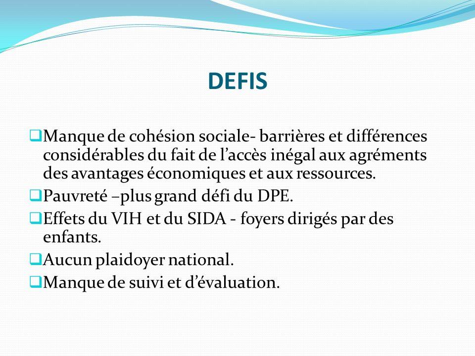 DEFIS Manque de cohésion sociale- barrières et différences considérables du fait de laccès inégal aux agréments des avantages économiques et aux ressources.