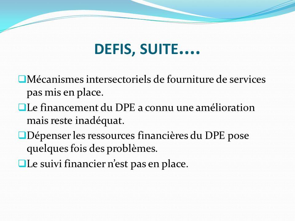 DEFIS, SUITE.... Mécanismes intersectoriels de fourniture de services pas mis en place.
