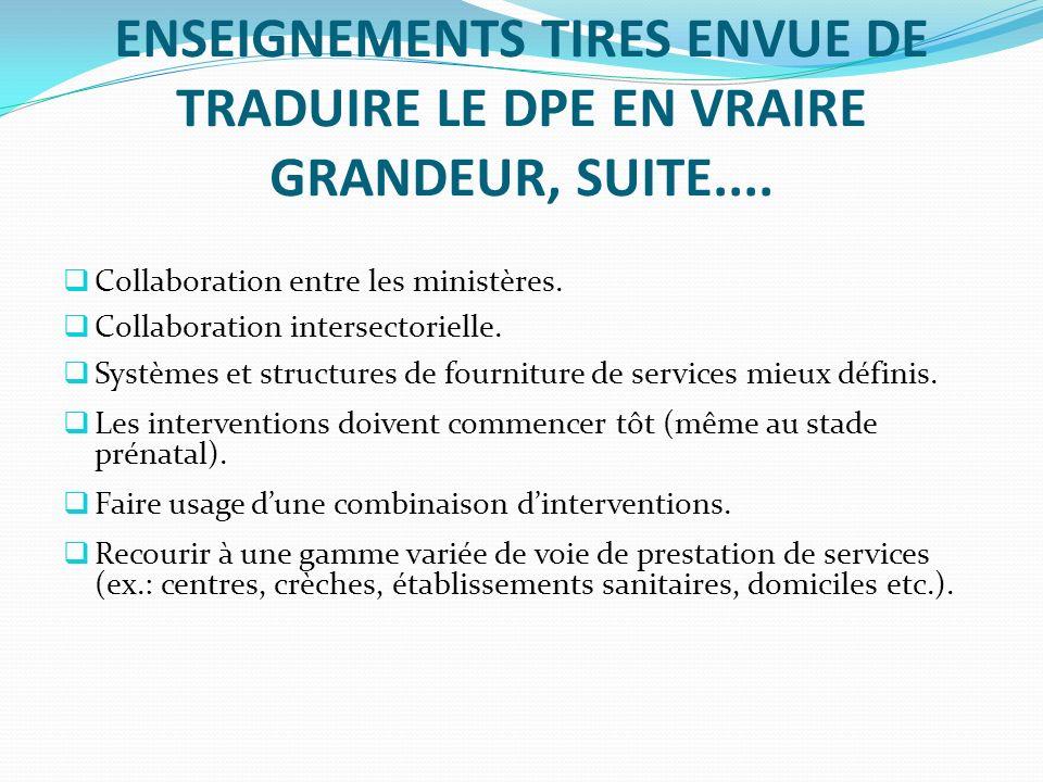 ENSEIGNEMENTS TIRES ENVUE DE TRADUIRE LE DPE EN VRAIRE GRANDEUR, SUITE....