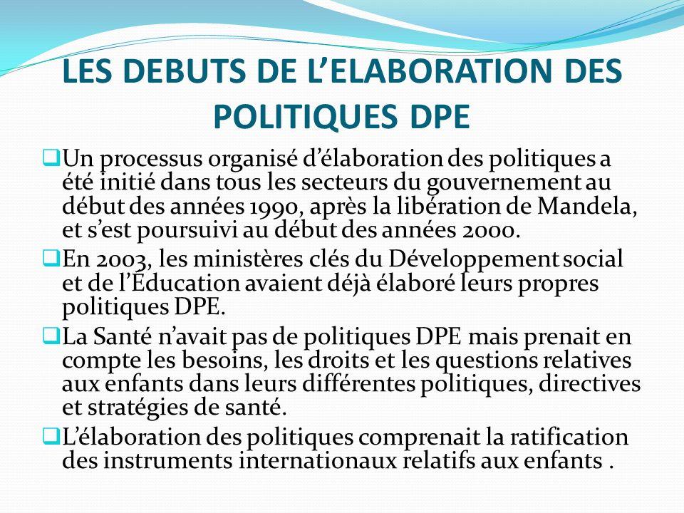 LES DEBUTS DE LELABORATION DES POLITIQUES DPE Un processus organisé délaboration des politiques a été initié dans tous les secteurs du gouvernement au début des années 1990, après la libération de Mandela, et sest poursuivi au début des années 2000.