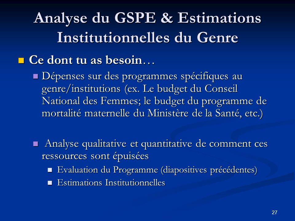 27 Analyse du GSPE & Estimations Institutionnelles du Genre Ce dont tu as besoin… Ce dont tu as besoin… Dépenses sur des programmes spécifiques au genre/institutions (ex.