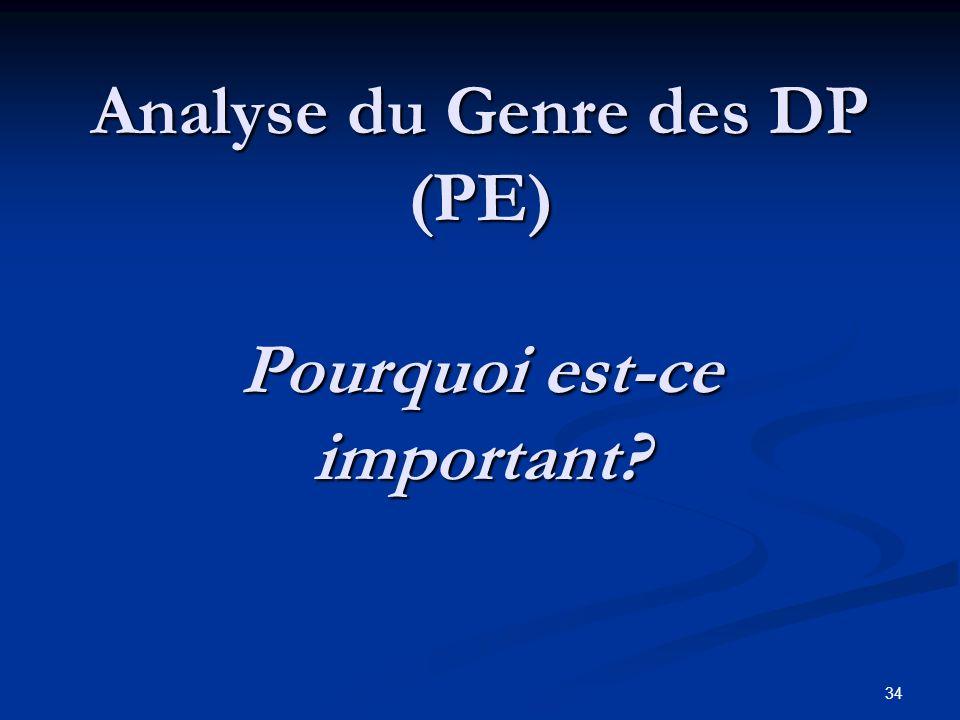 34 Analyse du Genre des DP (PE) Pourquoi est-ce important