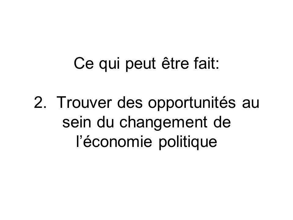 Ce qui peut être fait: 2. Trouver des opportunités au sein du changement de léconomie politique